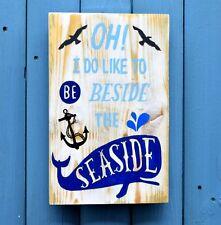 Handmade Reclaimed Pallet Sign Seaside Theme A4 Size Beach Hut Wall Plaque