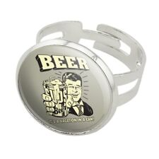 Beer It's a Vacation in a Can Funny Silver Plated Adjustable Novelty Ring