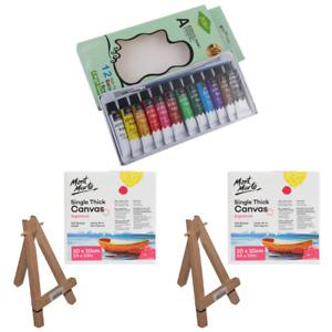 17pce Couples Painting Set Cute Miniature Canvas w/Easel Paints & Brush