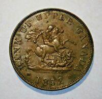 "1852 BANK OF UPPER CANADA ONE HALF  PENNY TOKEN VERY NICE ""YOU GRADE"" #18-079"