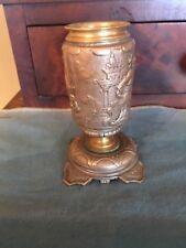 Antique Asian silverplated BRONZE Opium den Stick Match Holder