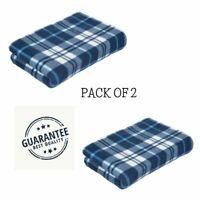 Large Soft Warm Tartan Check Sofa Throw Bed Blanket Fleece Pack Of 2 Dark Blue