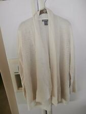 kate & mallory long modern ivory cream cardigan mixed knit xl cotton cashmere