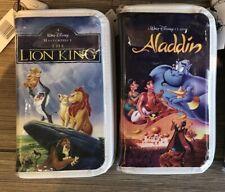 Disney Parks Aladdin The Lion King Vhs Clam Shell Zipper Wallet Clutch Purse Bag
