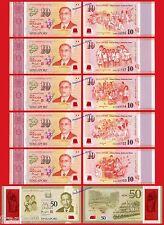 SINGAPUR SINGAPORE SET COMMEMORATIVE 5 x 10$ & 50$ 2015 POLYMER  Pick 56/61 UNC