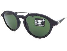 MONT BLANC Matte Black Round Sunglasses / Carl Zeiss Green Lens MB608 02N