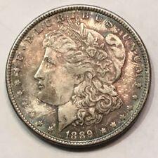 1889-P $1 Morgan 90% Silver Dollar - Higher Grade! Beautiful Rainbow Rim Toning!