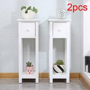 2pcs Tall Slim Bedside Telephone Tables Narrow Bedroom Hallway high-quality Wood