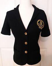 Ralph Lauren Sweater Short Sleeve Cardigan Logo Gold Crest Collar Buttons Small