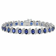 Sterling Silver Sapphire and Accent Diamond Tennis Bracelet 13.23 Ct G-h I3 7""