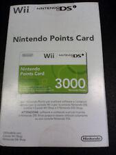Nintendo WII - DSi 3000 POINTS CARD Wii Points - WiiWare