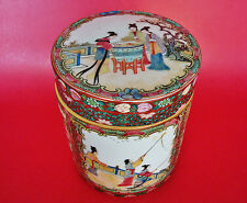 Antique Qianlong Marked Chinese Famille Rose Lidded Cylindrical Porcelain Jar