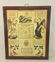 Antique 1825 Fraktur Hand Colored Putti and Angels H Ebner Allentown, PA