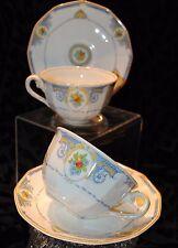 ANTG MYOTT SON&Co ENGLAND WINDSOR LOT OF 2 TEA CUP SAUCER SETS BLUE
