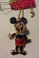 """BETSEY JOHNSON MICKEY MOUSE MOVABLE PARTS CRYSTAL PENDANT 24"""" NECKLACE"""