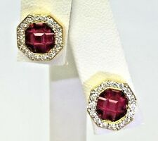 2.24 ct Natural Gem Ruby Diamond Halo 18K Yellow Gold Stud Earrings