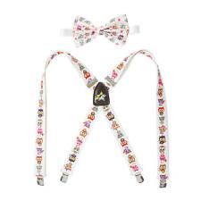 tokidoki Bow Tie & Suspender Set Neon Star Owls White Adjustable Straps NWT