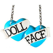 Bete Noire Doll Face Large Double Heart Necklace Blue Retro Rockabilly Pinup