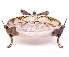 Porzellan Schale mit Bronzefigur Schmetterlingen