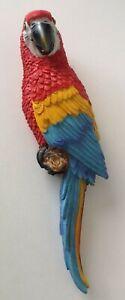 groß Deko Figur Wand Vogel Papagei Ara rot Wanddekoration tropisch exotisch