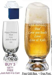 Personalised Stemmed Beer glass,Birthday/Christmas/Wedding/Fathers day gift