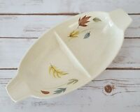 """Franciscan Autumn Fall Leaves Divided Serving Bowl Gladding McBean & Co 13 3/4"""""""