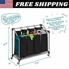 4 Bag Heavy Duty Rolling Laundry Sorter Hamper Cart with Wheels Washing Clothes