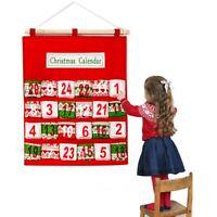 Christmas Advent Calendar Bag Felt Hanging Countdown Pocket Xmas Tree Home Decor