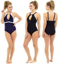 Ladies new black high neck contrast swimsuit with tummy control sizes 10 to 22