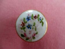 PRETTY ANTIQUE VINTAGE CERAMIC BUTTON FLORAL PAINTED & GILDED