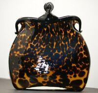 Art Glass Purse Vase - Leopard Print Design with black trim and tan interior.