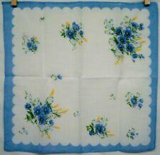 Vintage Handkerchief Blue Border Blue Flowers