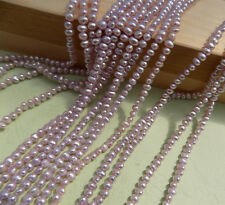 4-5MM Ivory  Lavender Round   Small Freshwater Pearls AAA One Strand 15.8'' 40CM