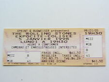 THE ROLLING STONES ticket, 9 Janvier 1998, COLISEE DE QUEBEC, Qubec CITY CANADA