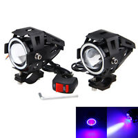 1Pair 125W U7 LED Motorcycle Spot Light Driving Headlight 3Mode DC 12V Fog Lamp
