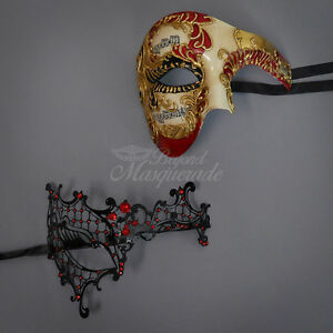 His & Hers Venetian Masquerade Mask, Red Themed Phantom Mask Couples Set