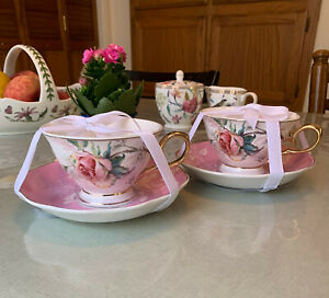 New GRACE'S TEAWARE 2 TEA CUPS AND SAUCERS Set ROSE BUTTERFLIES