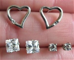3 x PAIRS OF STERLING SILVER STUD EARRINGS CLEAR CRYSTAL CZ 925 (16648)