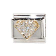 Diamond shaped enamel Italian Charm - fits 9mm classic Italian charm bracelets
