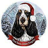 Holiday Pet Gifts English Cocker Spaniel Tri Dog Santa Hat Porcelain Ornament