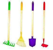 Kids 4 Piece Garden Tools Set, Rake, Shovel, Hoe, Leaf Rake, Metal Wood Play Toy