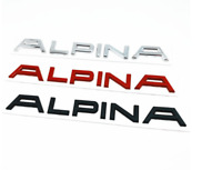 Alpina Logo Emblem Abzeichen 3D Aufkleber Sticker Grau Schwarz Rot