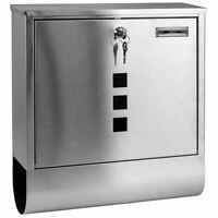 Waterproof Stainless Steel Post Box Newspaper Holder Mailbox Lockable Mail