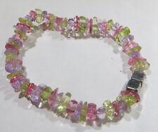 Bracelet avec éléments de couleurs pastel translucide et 2 cubes plaqué argent