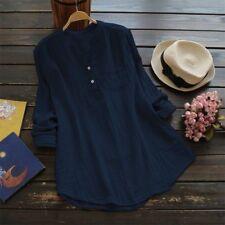 Damen V-Ausschnitt Bluse Hemd Langarm T-Shirt Leinen Oberteil Tunika Longshirt