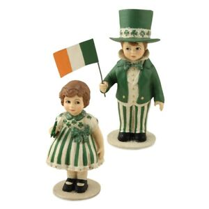 Bethany Lowe St. Patrick's Day Patrick and Erin Resin Children Figurines