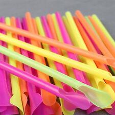 50 Pcs Colorful Jumbo Spoon Straws Drinking straw Bar Pub Slush Puppies Straw