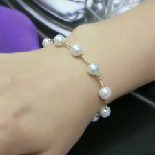 """7.5-8mm White Akoya Cultured Pearl Bracelet 18k Yellow Gold 7.3"""" Magnetic Clasp"""