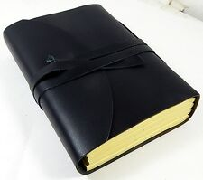 """Handmade 5"""" x 7"""" Black Buff leather Tri-Fold Journal  with 100% Cotton Paper"""