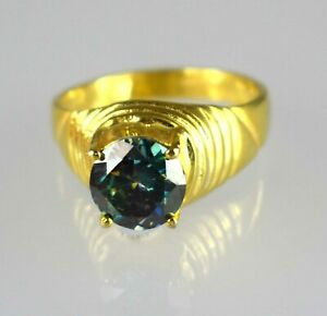 Blue Diamond  4.61 Ct Solitaire Gold Finish Men's Ring Excellent Quality